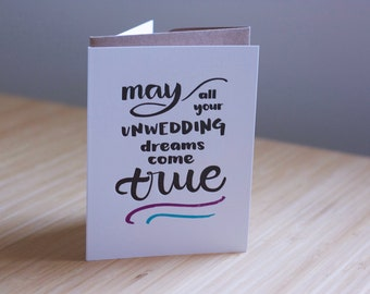 May all your unwedding dreams come true letterpress greeting card for divorce