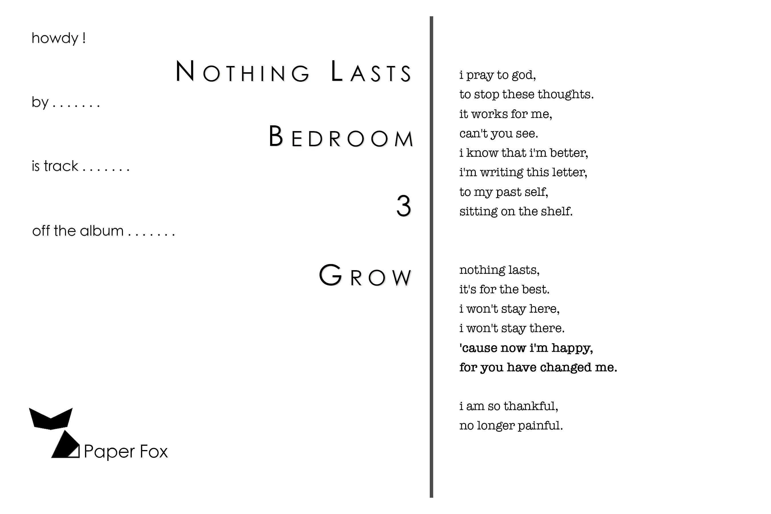 Nothing Lasts by Bedroom printlullaby | Etsy