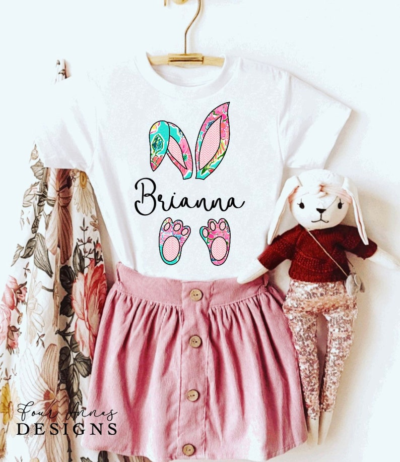 bunny daughter rabbit Personalized Easter shirt son personalized Easter youth kids clothing kids tee