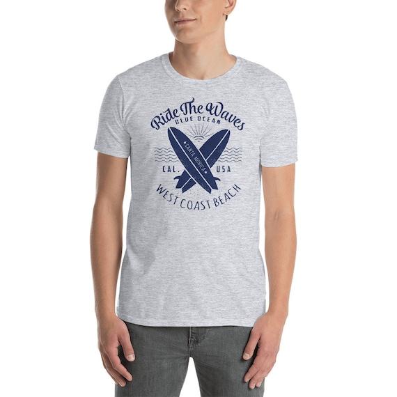 Monter la Californie vague West Coast Beach Californie la surf chemise manches courtes T-Shirt unisexe 99fec0