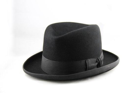 Vintage 1940s Homburg Fedora Hat Black