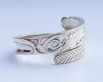 Unisex Eagle Wrap Twist Ring Antiqued Finish Adjustable Northwest Native Art
