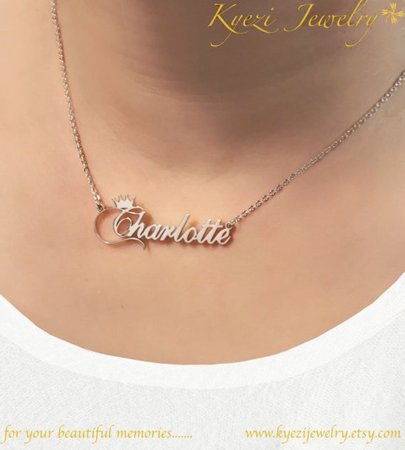 9c802ccb34b97 Crown Pattern Custom Name Necklace - Custom Word Necklace - Sterling Silver  Necklace - Personalized Name Necklace - Minimal Name