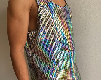 fa556b8c854a8 Iridescent Disco Ball Tank Top