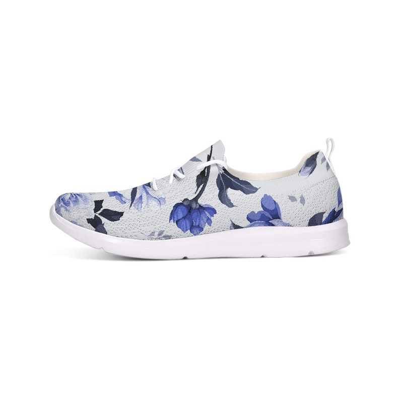 Blue Floral Shoes Abstract Running Shoes Flower Pattern FLYKNIT CASUAL SHOES