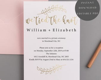 Elopement Reception Invitation Etsy