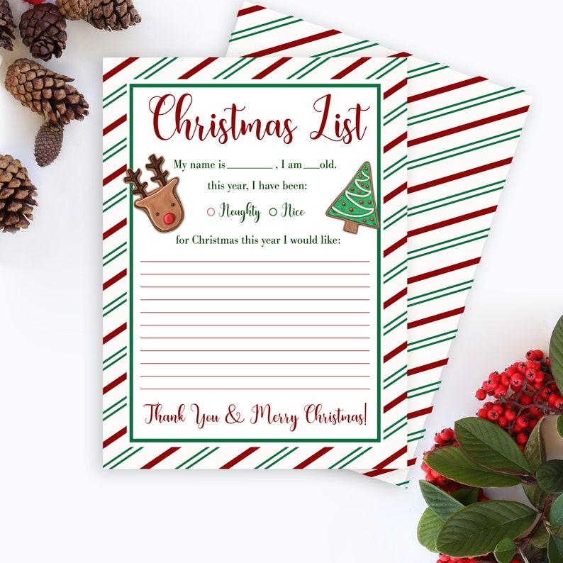 Naughty or Nice Holiday List Dear Santa Letter Christmas Wish List Printable Letter to Santa Letter to Santa Printable Christmas List