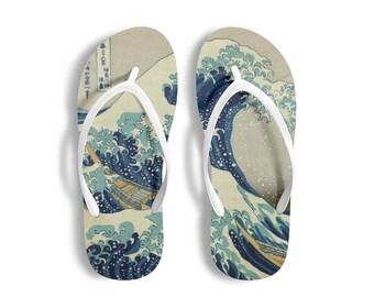 9c8755f9c469 Surfer Gifts Beach Shoes Beach Wear Shower Gift Slippers Sandals Bathroom  Wear Men Home Flip Flops Women Great Wave Off Kanagawa Hokusai Art
