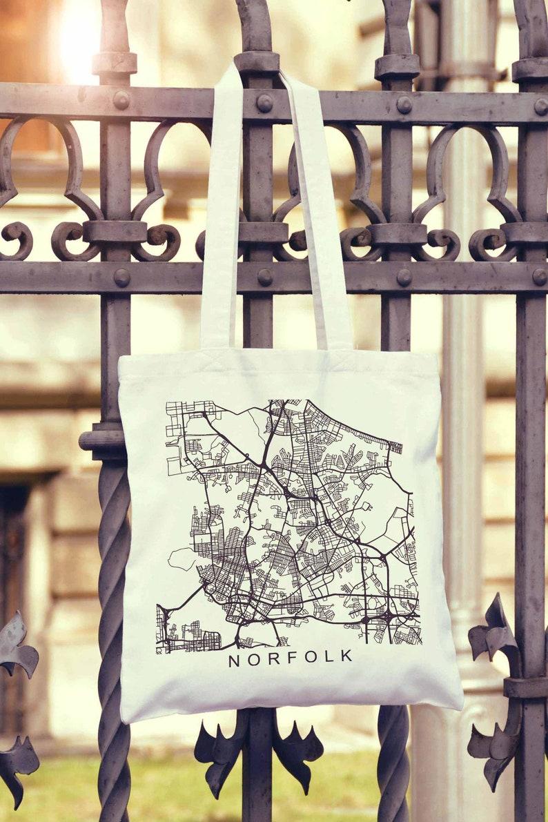 Norfolk Map Print Norfolk Virginia Gifts Norfolk Gifts Canvas Bag Cotton Bag Reusable Market Bag Shopping Bag Grocery Bag Eco Friendly Bag