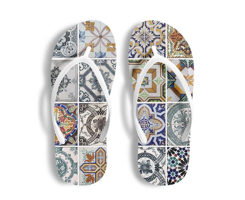 Azulejos Portugal Tiles Flip Flops Women Beach Shoes Slippers Shower Gift Bathroom Wear Flip Flops Men Home Wear Swimming Pool Shoes Sandals