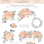 Floral Watercolor Clipart, Watercolor Flowers Clipart, Blush Pink Sage Dusty Green Border Digital Graphics, Boho Rustic Wedding Invitation