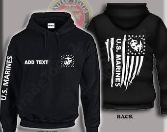 """Black US Marines /""""The Few The Proud/"""" Military Hooded Sweatshirt Hoodie Hoody  XL"""