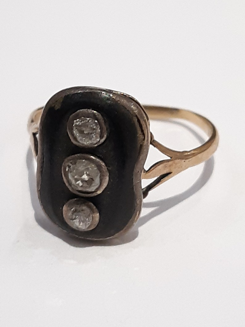 Victorian Mourning Ring with Old Cut Diamonds