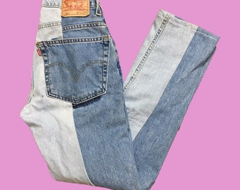 Custom made reworked color block levis jeans all sizes available