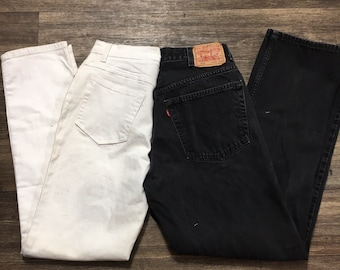 Reworked custom levis half and half two tone jeans black and white all sizes available