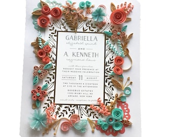 Coral And Turquoise Wedding Invitations Etsy
