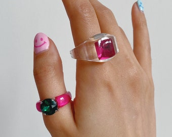 4Pcs SetLot of Y2K rings Transparent Resin Acrylic Rhinestone Colourful Geometric Square Round Rings Set for Women Jewellery Birthday gifts