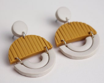 Yellow and Cream White Arched, Semicircle Patterned Geometric Earrings // Handmade Polymer Clay Jewellery