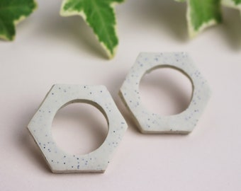 Speckled White Hexagon with Circle Cut-Out Minimal Geometric Earrings // Handmade Polymer Clay Jewellery