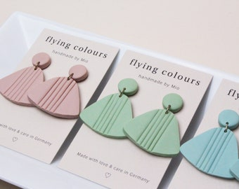 Pastel Pink / Mint Green / Baby Blue triangular earrings *3 different colours to choose from* // Handmade Polymer Clay Jewellery