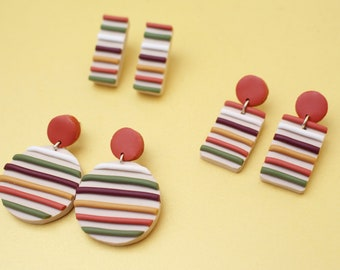 Autumnal Striped Earrings (orange, maroon, yellow, green) *3 different styles to choose from* // Handmade Polymer Clay Jewellery