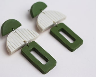 Green and Speckled White Rectangular and Semicircle Minimal Geometric Earrings // Handmade Polymer Clay Jewellery