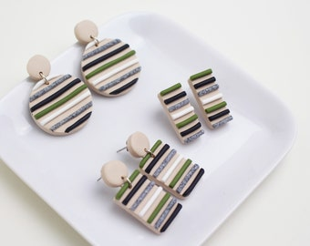 Moss Green, Granite Grey, Black and White Striped Earrings *3 different styles to choose from* // Handmade Polymer Clay Jewellery