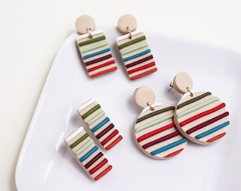 Colourful Rainbow Striped earrings *3 different styles to choose from* // Handmade Polymer Clay Jewellery