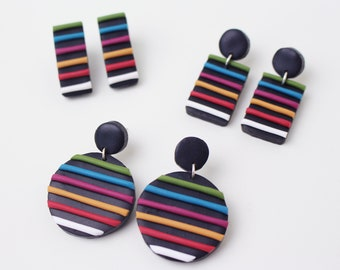 Colourful stripes on Black; Striped Earrings *3 different styles to choose from* // Handmade Polymer Clay Jewellery