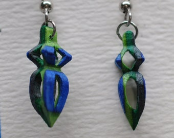 3D earrings, blues & green