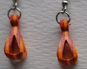 3D earrings, Orange & Red