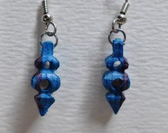 3D earrings, blues & purple