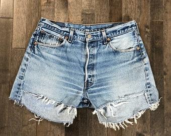 566f246e Vintage Levi's 501 Cut Off Jean Boyfriend Shorts