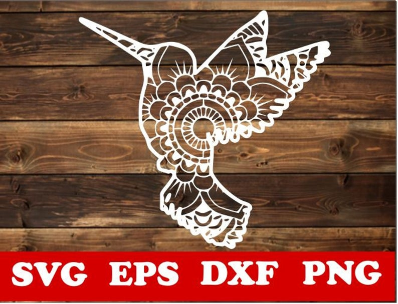 Humming birdmandala Svg Laser Cricut Humming bird svg CNC plasma Zentangle SVG Silhouette Vector Paper cut template Mandala svg