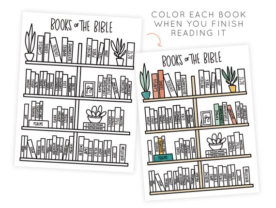 Bible Reading Plan Coloring Page Color As You Go Bible Etsy