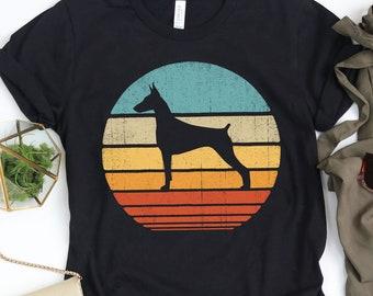 Tank Top Hoodie V-neck 70/'s Vintage Doberman Pinscher Gifts Dog Art Sweatshirt Retro Doberman Shirt Crop Top Long sleeve