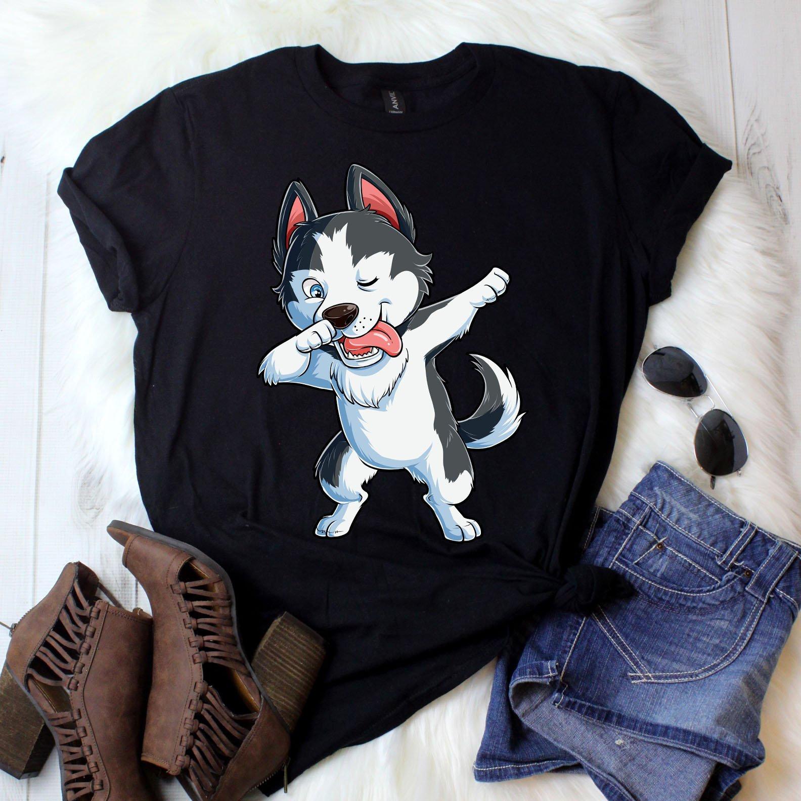 Avec Husky T shirt garçons filles hommes femmes enfants enfants femmes chien Dab danse drôle Tee / Mens Tank / débardeur nageur / sweat / Hoodie ebe7af