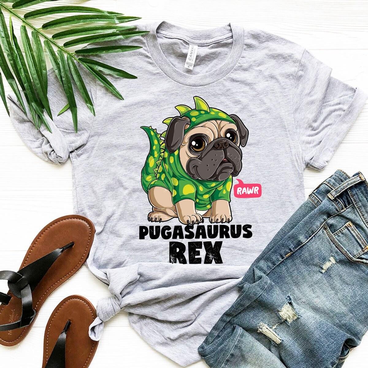 Pugasaurus Rex T Femmes Shirt Garçons Filles Hommes Femmes T Enfants