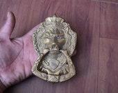 Vintage Lion door gate Knocker Handle Victorian heavy brass door Chest Ring Pull