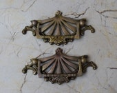 Vtg Victorian Cast Brass Door handle Knocker Floral drop Gate pull Handle 2 pcs