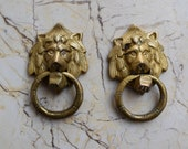 Vintage Lion Knocker Handle Victorian brass door gate Chest Ring Pull 2 pcs