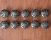 Vintage Old cast iron floral drawer door knob handles pull rustic 10 pcs