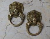 Vintage Lion Knocker Handle Victorian brass door gate Chest Ring Pull 2 pcs lot