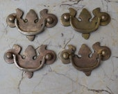 Vtg Victorian Cast Brass Door Cabinet handle Floral drop Gate pull Handle 4pcs