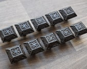 Vintage Victorian cast iron knobs cabinet drawer door handle pull rustic 10 pcs