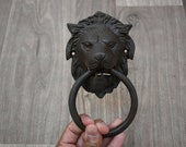 Vintage Victorian large Lion Head cast Iron door gate Chest Ring Pull Handle