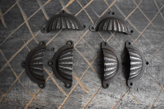 Victorian cast iron Cup cabinet drawer door knobs handles pull rustic 6 pcs