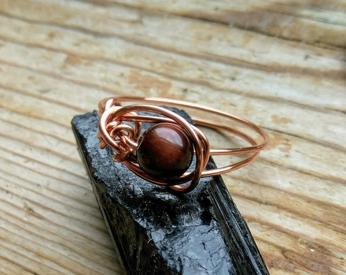Red Tigers Eye Wire Wrapped Ring