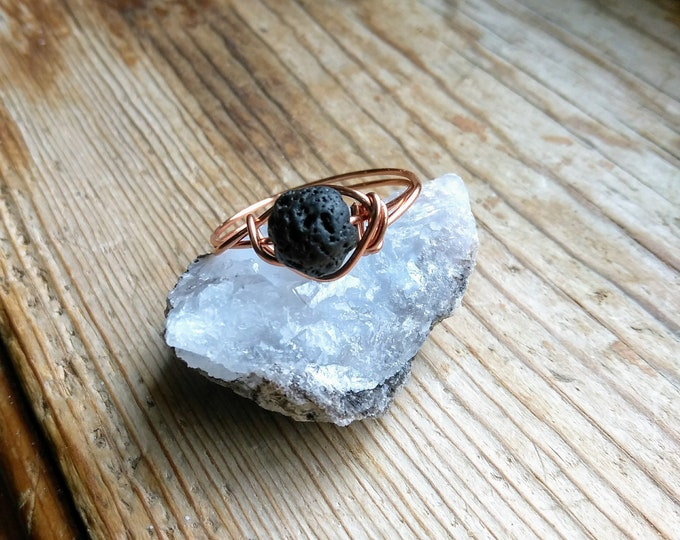 Lava Stone Ring, Aromatherapy ring