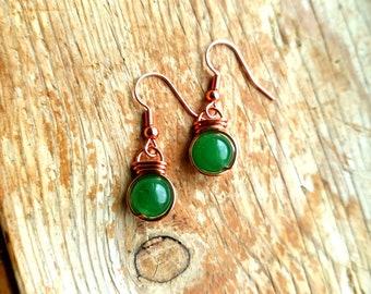 Green Aventurine Fish hook earrings